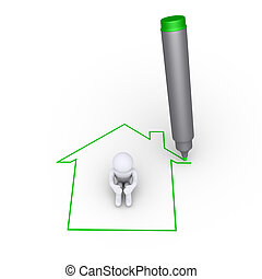 Drawing a house around a person - A marker is drawing a...