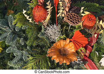 Floral Arrangement with Flowers and Pine Needles