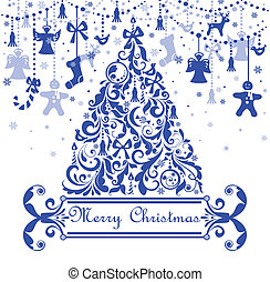 Greeting card with blue christmas tree
