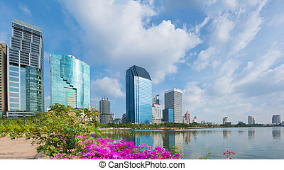 Skyline of Bangkok city. View from Lumpini park