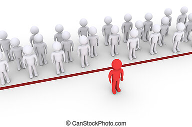 Person dares to cross the line - People are behind the line...