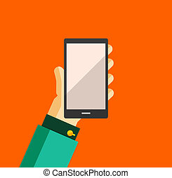 Hand holding smart phone trendy flat design - Businessmans...