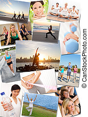 Healthy Men Women People Lifestyle & Exercise - Montage of...