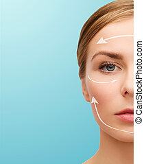 face of beautiful woman - health and beauty concept -...