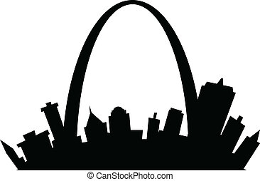 Cartoon St Louis - Cartoon skyline silhouette of the city of...