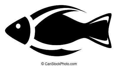 isolated icon - fish symbol - black aquarium symbol -...