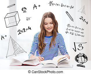 happy smiling student girl with books - education and home...