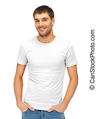 handsome man in blank white shirt - clothing design and hapy...