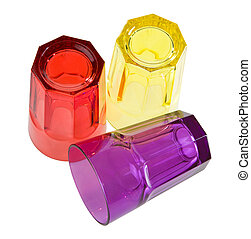 Colored glases - Three colored glases isolated. Clipping...
