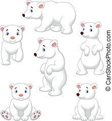 Cute polar bear cartoon collection - Vector illustration of...