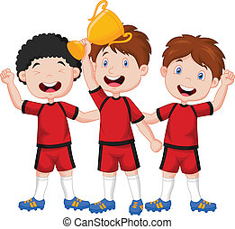 Little boys cartoon celebrate his t - Vector illustration of...
