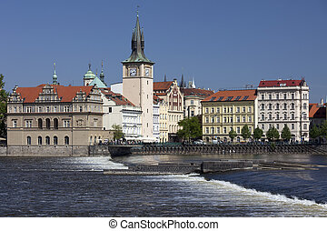 Prague - Novotny Footbridge and New Town Mills and towers
