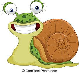 mignon, escargot, dessin animé