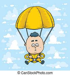Skydiver - A cartoon skydiver with parachute open.