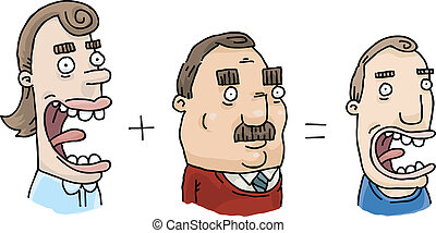 Heredity Combination - Cartoon showing how a man and woman's...
