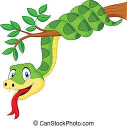 Cartoon green snake on branch - Vector illustration of...