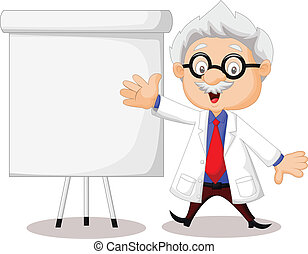 Professor cartoon teaching - Vector illustration of...