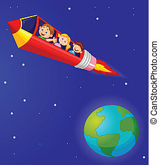 School Children cartoon Enjoying Pe - Vector illustration of...