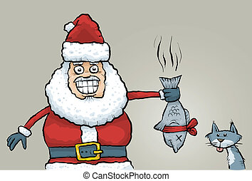 Santa's Stinky Fish Gift - Cartoon Santa Claus rewards a...