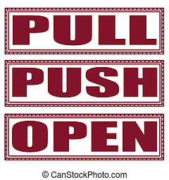 pull push open set stamp with on vector illustration
