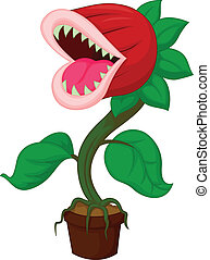 Carnivorous plant cartoon - Vector illustration of...