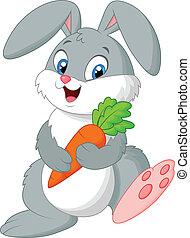 Happy rabbit cartoon holding carrot