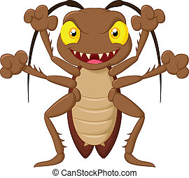 Scary cockroach cartoon - Vector illustration of Scary...