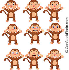 Cute monkeys cartoon in various exp - Vector illustration of...