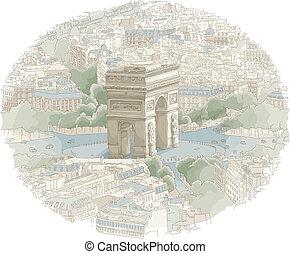 Paris Scene - Illustration of the Arc de Triomphe in Paris,...