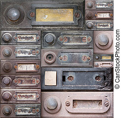 doorbells - Various of the old and damaged doorbells -...