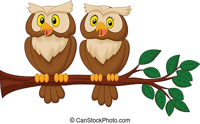 Cute owl couple cartoon - Vector illustration of Cute owl...