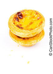 Egg tart on white background