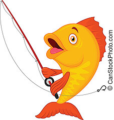 Cute cartoon fish holding fishing r - Vector illustration of...