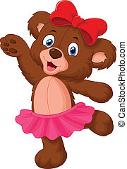 Baby bear cartoon dancing - Vector illustration of Baby bear...