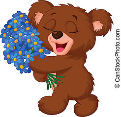 Cute little bear cartoon holding a - Vector illustration of...