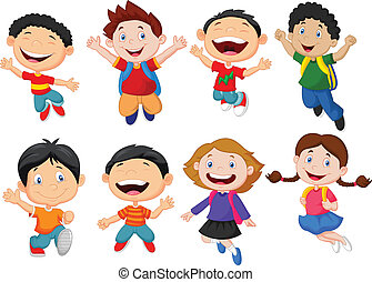 Happy school kid cartoon - Vector illustration of Happy...