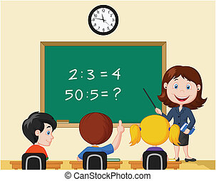 Cartoon Teacher pointing at blackbo - Vector illustration of...