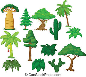Various tree cartoon collection - Vector illustration of...