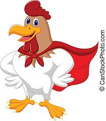 caricatura, súper, gallo, Posar