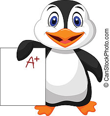 Cute penguin cartoon showing A plus - Vector illustration of...