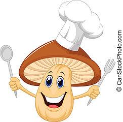 caricatura, cogumelo, cozinheiro