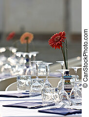 Table - Covered with a table. Outdoor restaurant. Aster in...