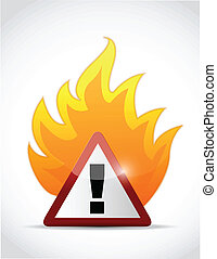 fire warning symbol illustration design over a white...