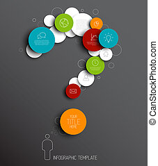 Question mark - dark Vector abstract circles infographic...