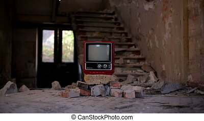 Broken Television in Abandoned House alpha - A Broken...