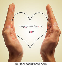 happy mothers day - man hands holding a silhouette of a...