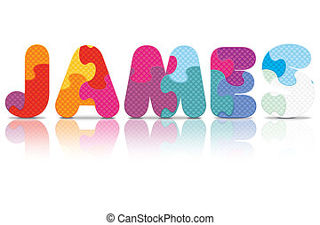 Vector JAMES written with puzzle - JAMES written with...