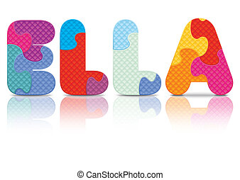 Vector ELLA written with puzzle - ELLA written with alphabet...