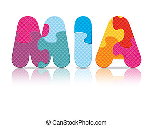 Vector MIA written with puzzle - MIA written with alphabet...