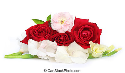 Bunch of gladiolus and rose over white background